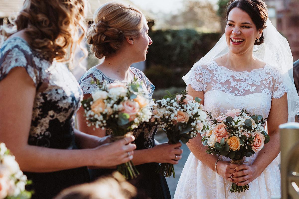 bride and bridesmaids waiting